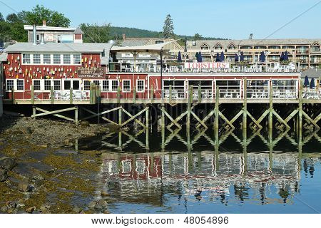 Dockside lobster restaurant in historic Bar Harbor, Maine