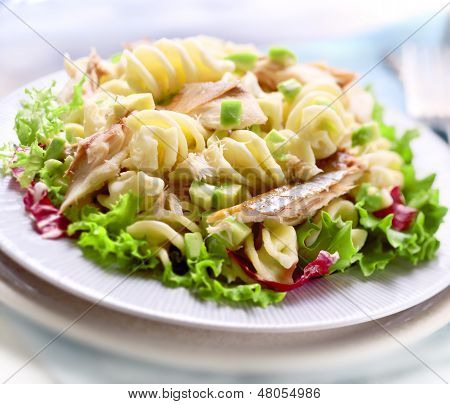 Pasta Salad With Avacado And Mackerel