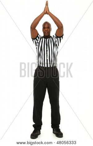 Attractive fit black man in referee uniform over white.