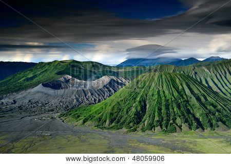 Landscape Of Volcanoes In Bromo Mountain