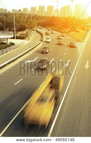 Rush Hour Traffic In Busy Highway