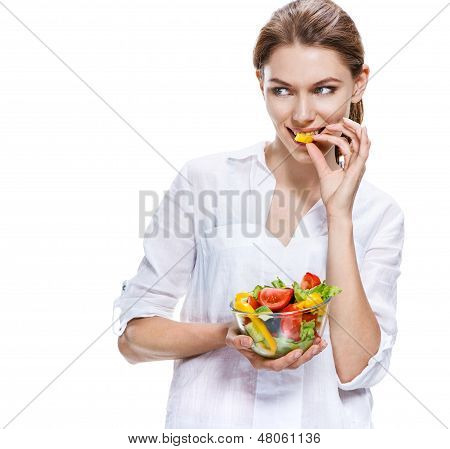 flawless european woman & raw vegetable salad - isolated on white background