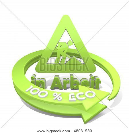 3D Graphic Of A Sustainable Eco Symbol  A 100 Percent Eco
