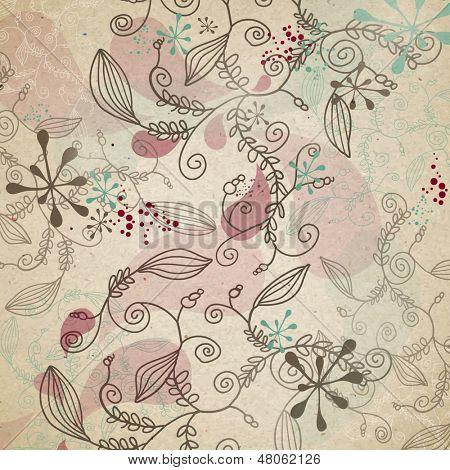 Floral Hand Drawn Vintage Background