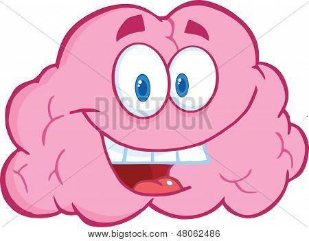 Happy Brain Cartoon Character