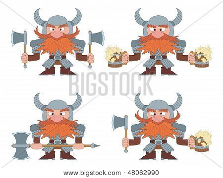 Dwarfs with beer mugs and axes, set