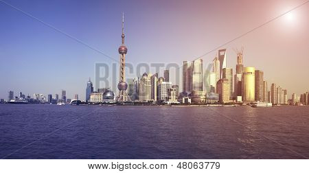 Lujiazui Finance&trade Zone Of Shanghai Skyline At City Landscape