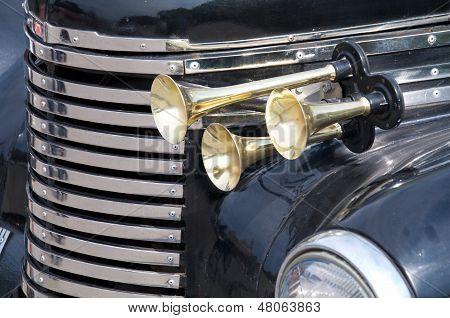 close up of a black retro car