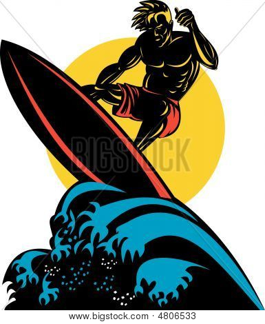 Surfer With Big Waves