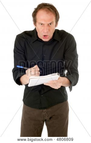 Furious Man Writing