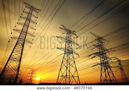 The Transmission Tower On Skyline Background