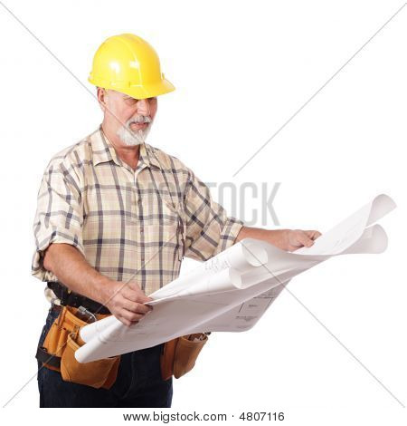 Architect Reading Blueprints