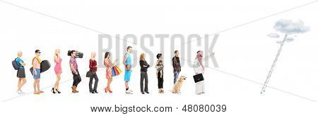Full length portraits of people in a queue waiting to climb a ladder with clouds, isolated on white background, shot with a tilt and shift lens
