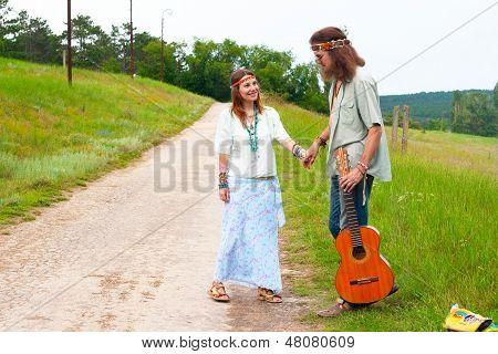 Couple Happy Hippie On The Road