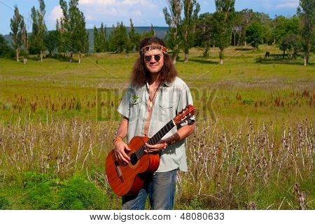Musician Hippie Young Men With Guitar
