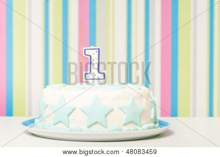 one year birthday cake on the plate