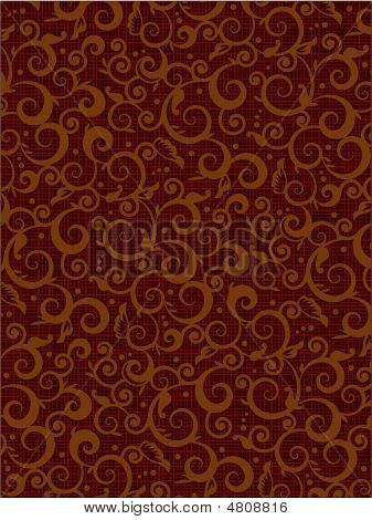 Brown Floral Scrolls Pattern Background