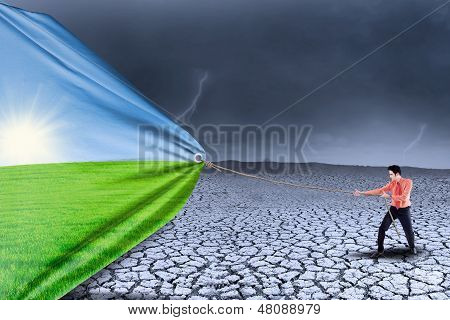 Businessman Change Drought To Spring Season
