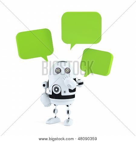 Android Robot With Chat Bubbles.