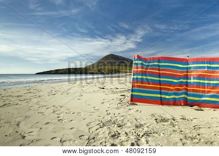 Windbreak used at Northton beach, Toe Head in the background, Isle of Harris, Outer Hebrides, Scotla