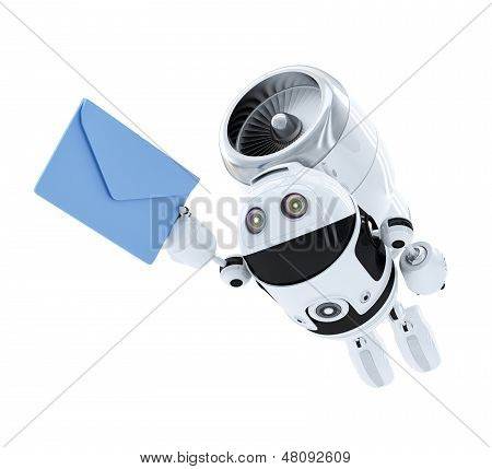 Android Robot Flying With Envelppe. E-mail Delivery Concept.