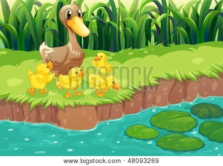Illustration of a mother duck with her ducklings at the river