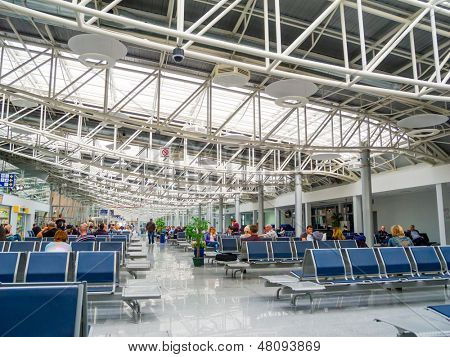 KIEV, UKRAINE - MAY 29: Passengers wait at the airport Borispol on May 29, 2013 in Kiev, Ukraine. It is Ukraine's largest airport, serving more than 70% of the country's passenger air traffic