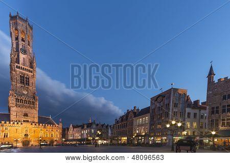 Belfry Tower(Market Square) in Bruges at Dusk