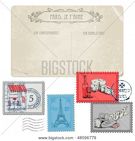 Vintage Postcard with Set of Stamps - Vintage Paris and France - in vector