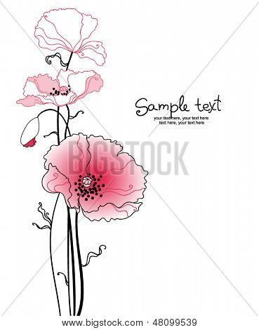card with stylized poppy flowers.