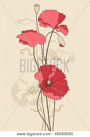 vector stylized poppies.