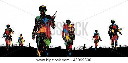 Ilustración editable vector de pintura salpicada soldados caminando en patrulla