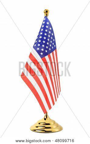 Flag Of Ua Hanging On The Gold Flagpole