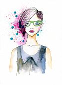 stock photo of ombre  - Stylish Illustration of a Girl with Fashionable Hairstyle - JPG