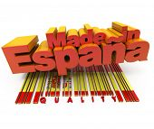 3D made in Espa�?�?�?�±a with Spanish flag colors and a bar code marked quality