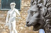 stock photo of piazza  - Lion statue stands at the entrance of the Loggia dei Lanzi in Piazza della Signoria in Florence - JPG