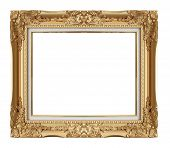 stock photo of gold  - Old Antique Gold frame Isolated Decorative Carved Wood Stand Antique Gold Frame Isolated On White Background - JPG