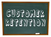 pic of customer relationship management  - The words Customer Retention on a chalkboard for a lesson or training in keeping customers for your business - JPG