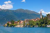 stock photo of italian alps  - Panoramic view of Varenna town  - JPG