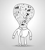 Business get idea. Cartoon businessman with a light bulb and doodle icons. File stored in version AI