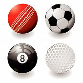picture of cricket ball  - Collection of four sports balls with shadow and gradient - JPG