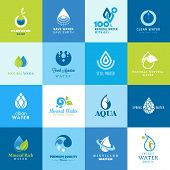 Set of icons for all types of water