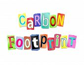 image of carbon-footprint  - Illustration depicting a set of cut out printed letters formed to arrange the words carbon footprint - JPG