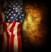 stock photo of democracy  - Closeup of American flag on grunge background - JPG