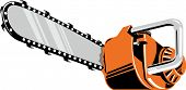 picture of chainsaw  - Vector illustration of a chainsaw isolated on gray background - JPG