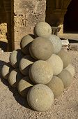 picture of cannonball  - Pile of cannonballs - JPG