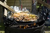 image of brazier  - Shish kebab potato stewed cabbage - JPG
