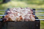 pic of brazier  - cooking pork shashlik on skewer in brazier outdoors - JPG
