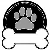 picture of pure-breed  - A dog pawprint and dog bone with room for text in a circular design - JPG