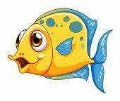 pic of underworld  - Illustration of a small yellow fish on a white background - JPG